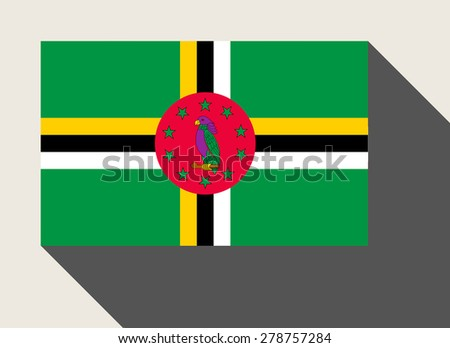 Dominica flag in flat web design style. - stock photo