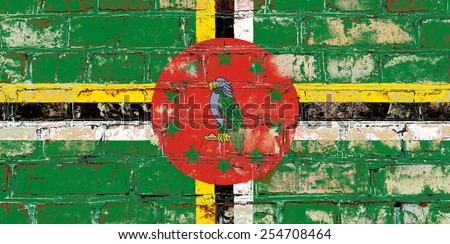 Dominica flag painted on old brick wall texture background