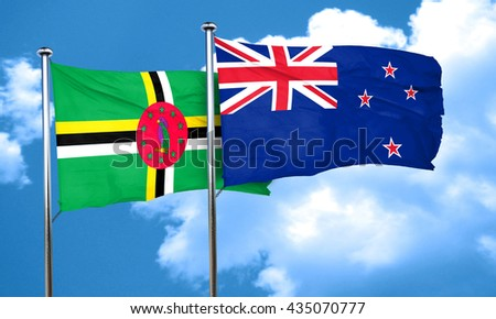 Dominica flag with New Zealand flag, 3D rendering