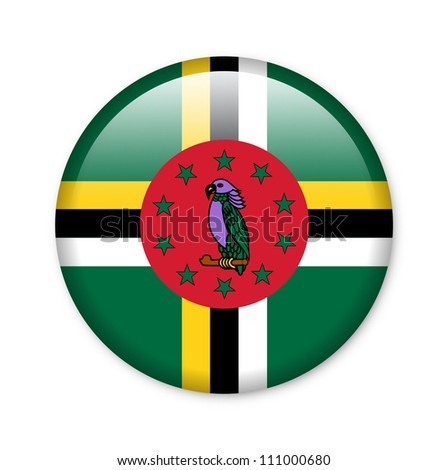 Dominica - glossy button with flag