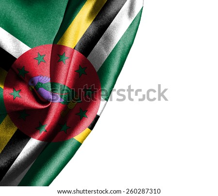 Dominica waving silky flag isolated on white background