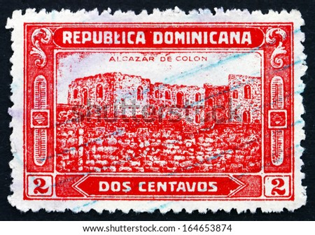DOMINICAN REPUBLIC - CIRCA 1928: a stamp printed in Dominican Republic shows Ruins of Columbus'?? Fortress, circa 1928 - stock photo