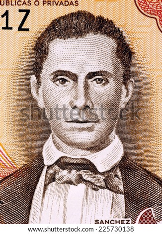 DOMINICAN REPUBLIC - CIRCA 1997: Jorge Noceda Sanchez (1931-1987) on 5 Pesos Oro 1997 Banknote from Dominican Republic. Painter whose works are collected by museums throughout the world. - stock photo