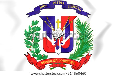 Dominican Republic Coat of Arms. 3D Illustration.