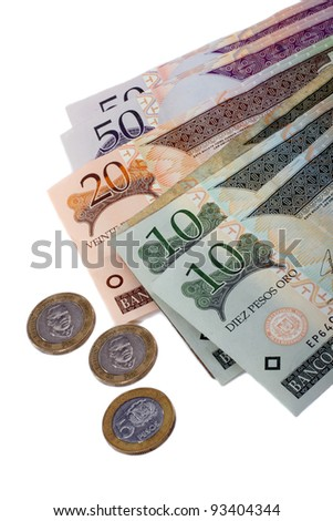 Dominican Republic Currency Paper Banknotes And Coins Isolated On White background - stock photo