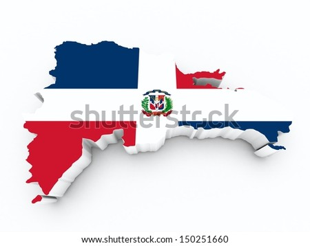 dominican republic flag on 3d map on white isolated - stock photo