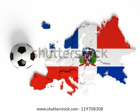 Dominican Republic flag on European map with national borders, isolated on white background - stock photo