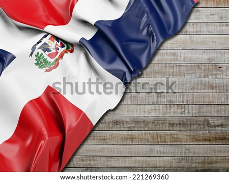 Dominican Republic Flag with horizontal wood - stock photo
