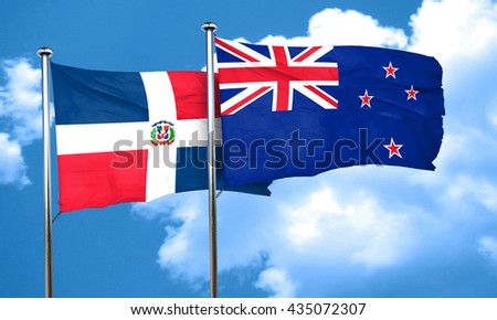 dominican republic flag with New Zealand flag, 3D rendering