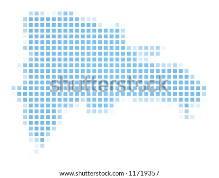 Dominican Republic map square mosaic. Easy to recolor. - stock photo