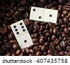 domino and coffee - stock photo