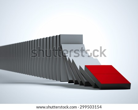 Domino effect - stock photo