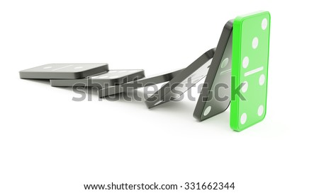 Domino effect barrier concept on white background