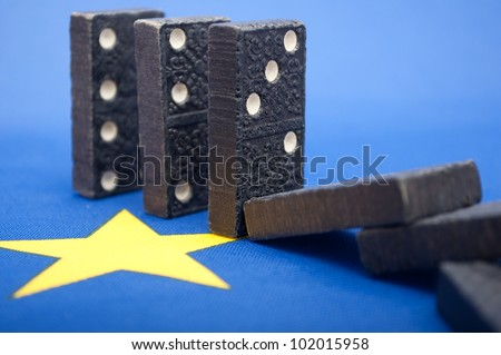Domino Effect - Financial Crisis in European Union - Shallow Depth of Field - stock photo