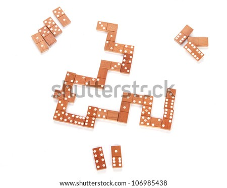 domino game isolated on white as an abstract concept - stock photo