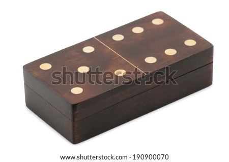 Domino in wooden box isolated on white - stock photo