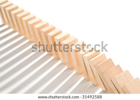 domino isolated on white as an abstract concept - stock photo