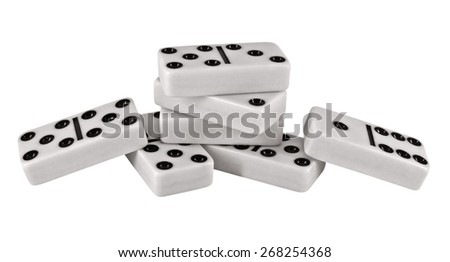 Domino pieces isolated on white background. Clipping Path included. - stock photo