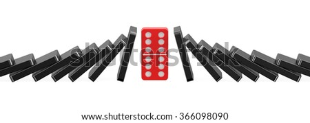domino, success concept isolated on white background - stock photo