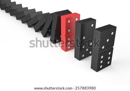 domino, teamwork concept isolated on white background - stock photo