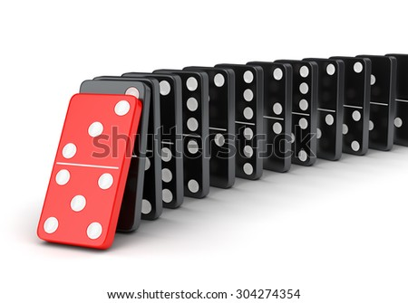 Domino tiles effect. Raw of falling dominoes isolated on white background. - stock photo