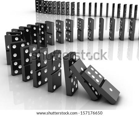 Dominoes falling - stock photo