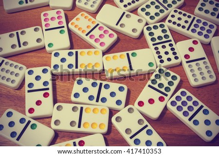dominoes on wooden background