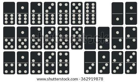 Dominoes Set isolated on white background - stock photo