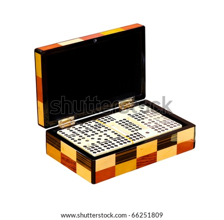 Dominos in wooden box isolated with clipping path included