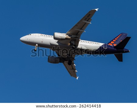 Domodedovo - March 14, 2015: Beautiful passenger aircraft Airbus A319, Brussels Airlines, landing at Domodedovo airport March 14, 2015, Domodedovo, Moscow Region, Russia