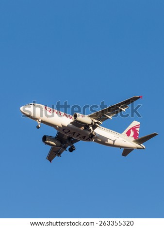 Domodedovo - March 17, 2015: Beautiful passenger aircraft Airbus A320, the airline Qatar Airways, landing at Domodedovo airport March 17, 2015, Domodedovo, Moscow Region, Russia - stock photo