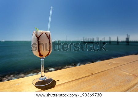 Don (Dom) Pedro Drink served at the waterfront in Walvis Bay, Namibia - stock photo