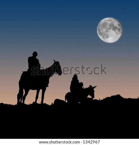 Don Quixote and Sancho Panza (composite) - stock photo