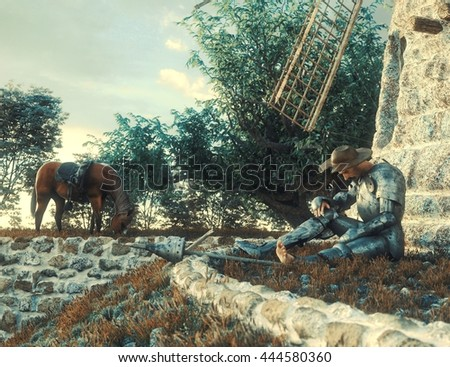 Don Quixote and windmill conception illustration 3d composition - stock photo
