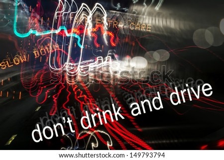 Don't Drink and Drive - the dangers of drink driving - road safety art design showing blurry and inebriated vision driving on the road at night. - stock photo