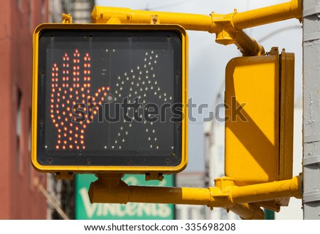Don't walk, new york traffic light. pedestrian stop sign. - stock photo