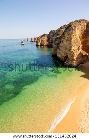Dona Ana beach at Lagos, Algarve, Portugal - stock photo