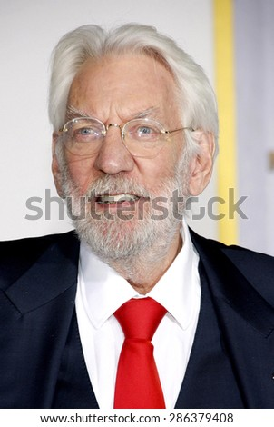 Donald Sutherland at the Los Angeles premiere of 'The Hunger Games: Mockingjay - Part 1' held at the Nokia Theatre L.A. Live in Los Angeles on November 17, 2014.
