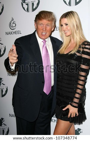 Donald Trump and Ivanka Trump  at a party to introduce the Trump Tower Dubai. The Tar Estate, Bel Air, CA. 08-23-08 - stock photo