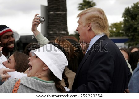 Donald Trump kicks off the sixth season casting call search for THE APPRENTICE held in the Universal Studios Hollywood, California on March 10, 2006. - stock photo