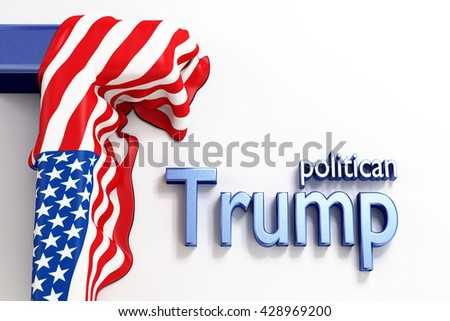 Donald Trump presidential candidate in USA 2016. American politician and US flag. United States presidential election. Businessman.  3d Rendering. WASHINGTON, DC - MAY 28, 2016  - stock photo