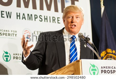 Donald Trump speaks at Americans for Prosperity's Freedom Summit in Manchester, NH, on April 12, 2014.  - stock photo