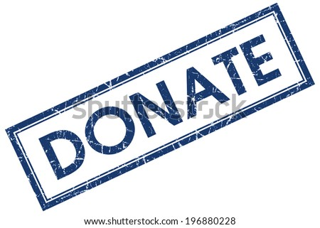 Donate blue square grungy stamp isolated on white background - stock photo