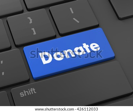 donate button on computer keyboard pc key  3d rendering