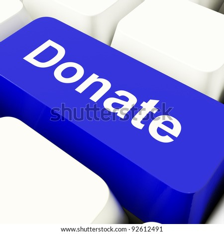 Donate Computer Key In Blue Showing Charities And Fundraising - stock photo