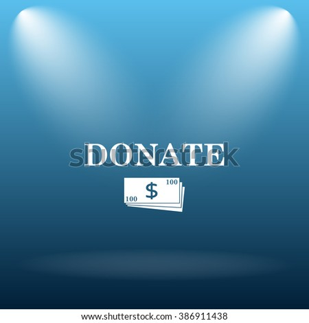 Donate icon. Internet button on blue background.   - stock photo