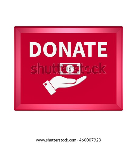 Donate icon. Internet button on white background.3d illustration
