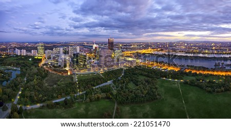 Donau City Vienna at the Danube river with the new DC-Tower - stock photo