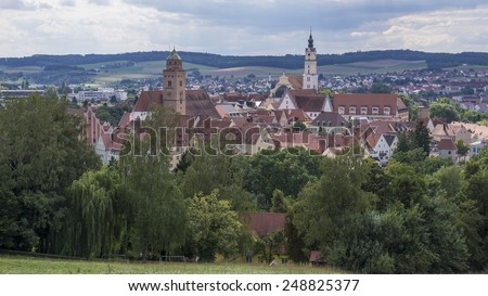 DONAUWOERTH, GERMANY - AUGUST  17, 2014:  Donauwoerth is an historic city on the Romantic Road in Bavaria, Germany