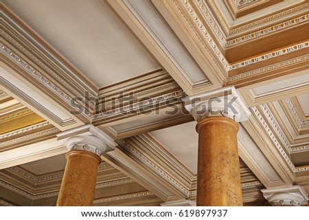 DONCASTER, UK - APRIL 8, 2017: Ceiling and columns, Brodsworth Hall. South Yorkshire. Brodsworth Hall is one of best surviving example of a Victorian country house in England